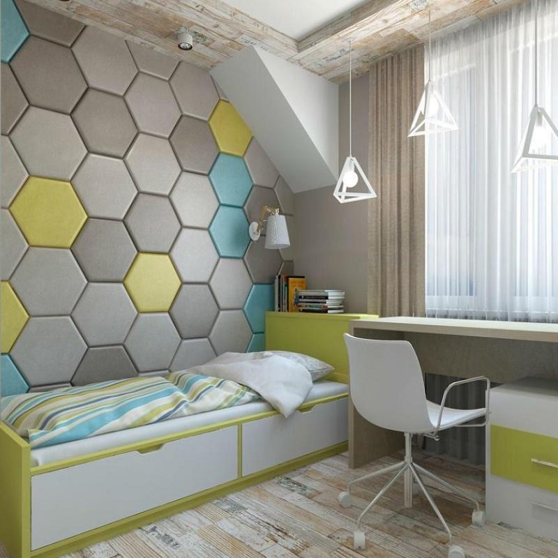 Мягкие панели в интерьере детской комнаты.A&E